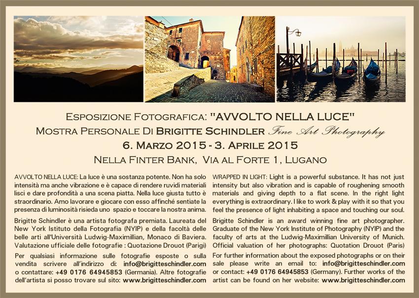 Lugano 2015 Einzelausstellung Brigitte Schindler Fotokunst Fotografien Finter Bank Schweiz