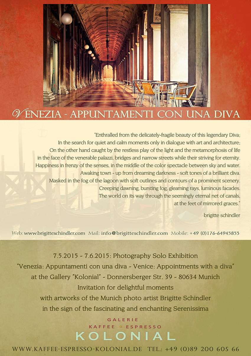 Brigitte Schindler Photography Exhibition Venice Photos in the Gallery Kolonial in Munich